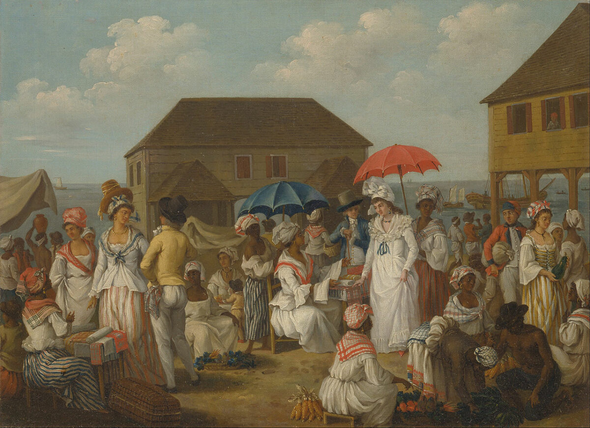 A Painting of a Dominican Linen Market by Agostino Brunias
