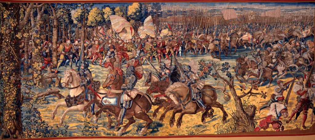 Landsknecht mercenaries with arquebuses (Tapestries of the Battle of Pavia by Bernard van Orley, between 1528 and 1531)